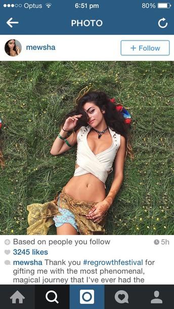 shirt hippie sage crop skirt