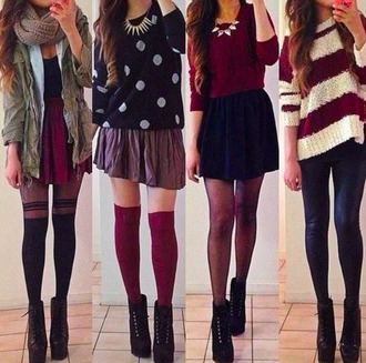 cardigan jeans boots heels necklace scarf knit warm cozy fall outfits stripes polka dots knee high socks tights