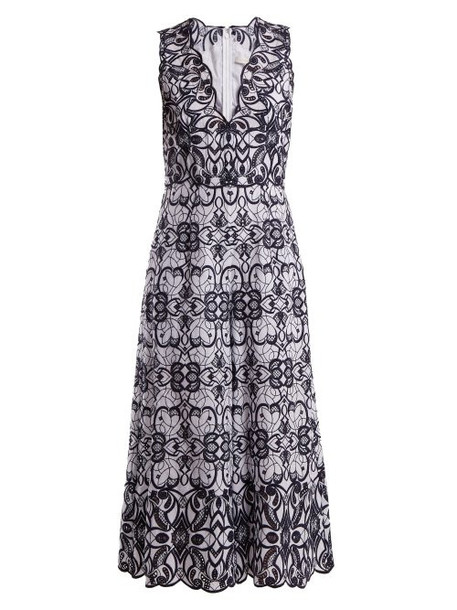 Jonathan Simkhai - V Neck Geometric Embroidered Cotton Jumpsuit - Womens - White Navy
