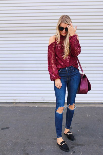 ashn'fashn blogger top sunglasses jeans bag shoes fall outfits lace top shoulder bag loafers