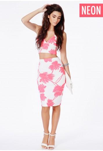 Carressa midi skirt with palm tree print