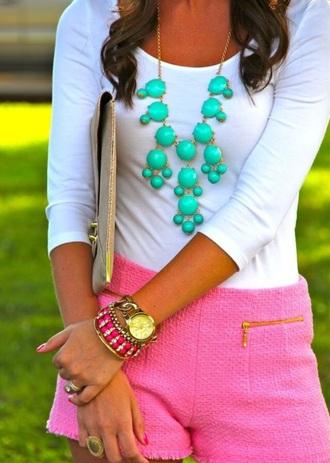 shorts pink pink shorts chic green green jewelry jewels fashion dress