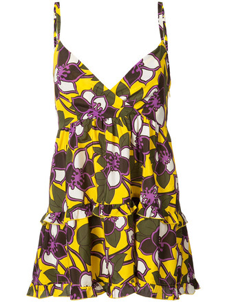 top women floral silk yellow orange