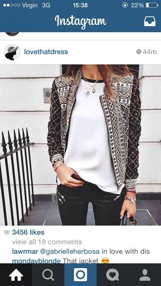 jacket patterned jewelled
