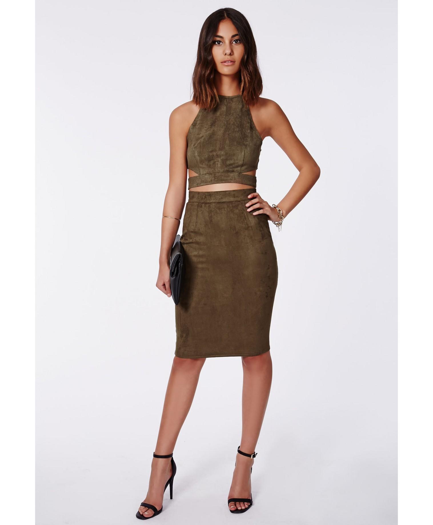 Missguided - Berryana Faux Suede Midi Skirt Khaki