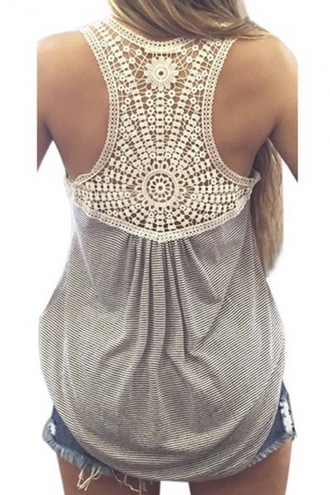top grey casual fashion style embroidered summer spring beautifulhalo tank top crochet crochet top