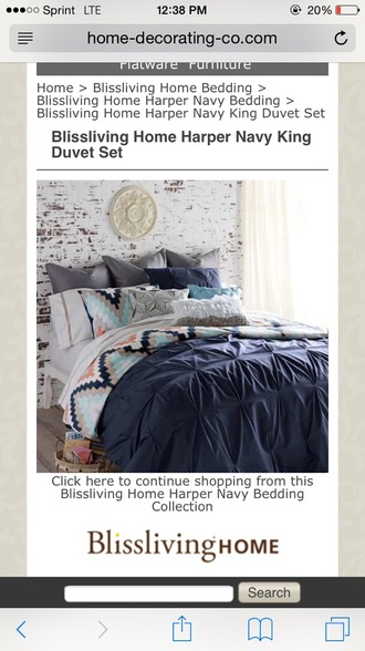 Home Accessory Navy Coral Aztec Bedding