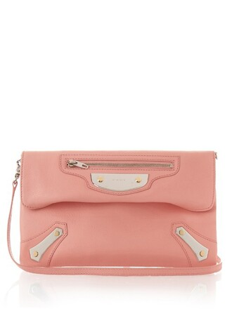 leather clutch metal clutch leather light pink light pink bag