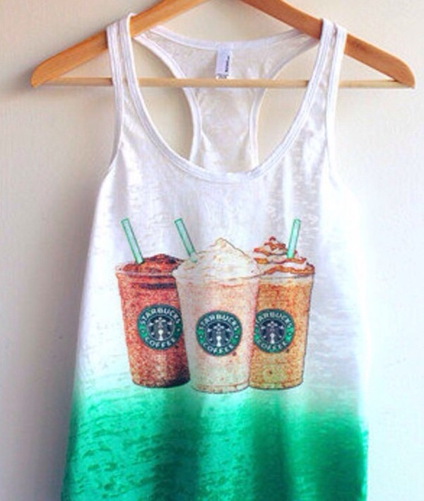 tank top starbucks coffee ♥ starbucks coffee green style perfect look girl shirt white and green tang top starbucks coffee