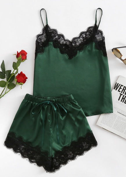 pajamas girly green black lace two-piece lounge wear lounge lounge shorts silk satin satin pajama set