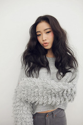 sweater,knit,grey,shaggy,knitted cardigan,knitted sweater,bell sleeves,bell sleeve sweater