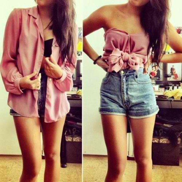 light pink shorts blouse high waisted short denim button up blouse