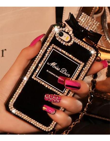 rhinestone bag perfume bottle phone case miss dior chanel paris diamonds iphone case iphone 5 case