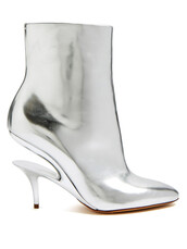 heel,leather ankle boots,ankle boots,leather,silver,shoes