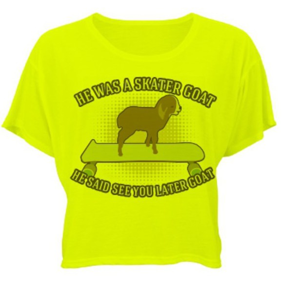 funny humor quote on it lyrics skater goat sk8er boi avril lavigne goat neon crop tops