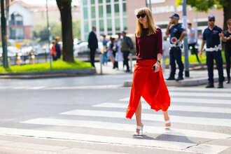 skirt black sung fashion week street style fashion week 2016 fashion week milan fashion week 2016 orange midi skirt asymmetrical asymmetrical skirt burgundy top burgundy top mules white shoes shoes sunglasses streetstyle