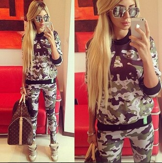 pants matching pants and top camouflage matching set tracksuit sweatpants