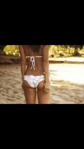 swimwear,white bikini,ruffle,bows,floral,bikini