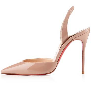 Cheap christian louboutin ever 100mm patent leather pointed toe slingback pumps nude sale