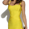 Crisscross strap bandage dress yellow
