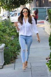 blouse,eva longoria,skinny jeans,sandals,spring outfits,spring