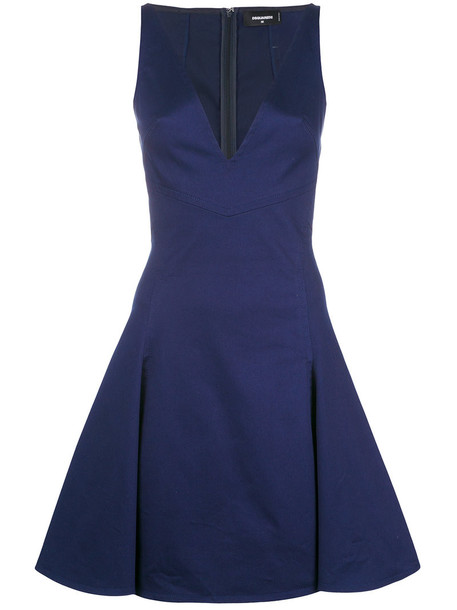 dress women spandex cotton blue