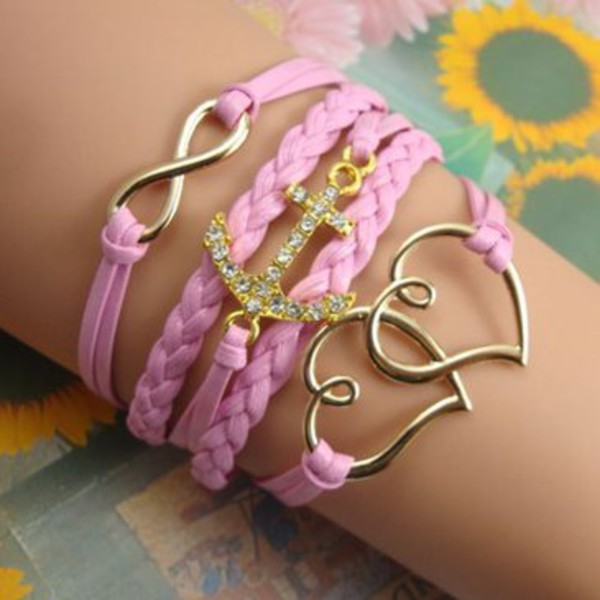 jewels anchor double heart bracelet