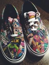 shoes,vans,marvel comics,superheroes,The Avengers,marvel,sneakers,marvel comic vans,printed vans,comics,era,hero,marvel superheroes