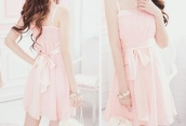 dress,pink dress,cute,bow,pink dress with bow,fashion,girl,pink,bow dress,kfashion,korean fashion