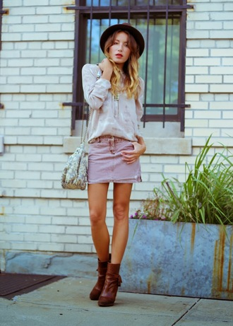 the marcy stop blogger blouse skirt bag jewels shoes bucket bag
