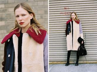 vanessa jackman blogger coat make-up