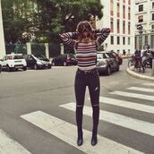 sweater,stripes,top,jumper,multi,colorful,mustard,red,navy,white,tight,multicolor,long sleeves,knitwear,shirt,striped sweater,jeans,70s style,striped turtleneck,striped turtleneck sweater,ripped jeans,black ripped jeans,streetstyle,casual,style,fashion,school girl,back,teenagers,ankle boots,high waisted jeans,spring,lifestyle,black skinny jeans