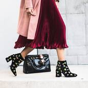 shoes,tumblr,boots,ankle boots,printed boots,bag,black bag,pleated skirt,pleated,midi skirt,pink,pink skirt,coat,pink coat,burgundy skirt,embellished boots