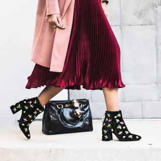 shoes tumblr boots ankle boots printed boots bag black bag pleated skirt pleated midi skirt pink pink skirt coat pink coat burgundy skirt embellished boots
