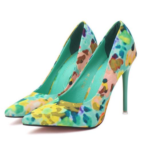 Floral Print High Heels Pointed Shoes