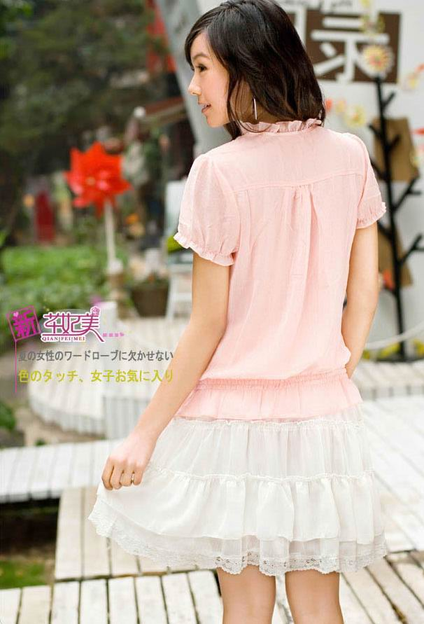 Lovely Lace Chiffon Short Skirt with Belt (US$ 26.55 / US$ 29.62)