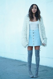 cardigan,skirt,boots,fall outfits,fall sweater,top,blogger,ashley madekwe,denim skirt,over the knee boots,button up skirt,pastel skirt,thigh high boots,blue boots,fuzzy cardigan,date outfit,outfit idea,wavy hair