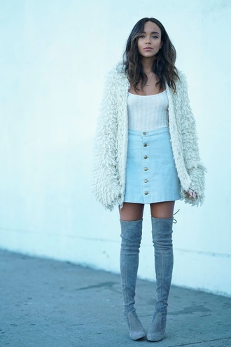 cardigan skirt boots fall outfits fall sweater top blogger ashley madekwe denim skirt over the knee boots