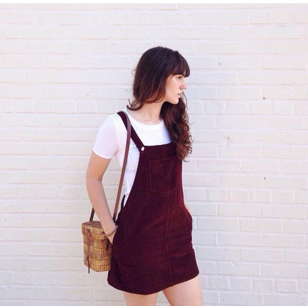 fd42db9a48 dress red dark burgundy rose purple corduroy dungaree dungarees dungaree  dress buttons vintage thrift cute tumblr