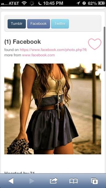 dress black and gold short dress withbrownbelt skirt shirt belt blue skirt high waisted skirt hat bag