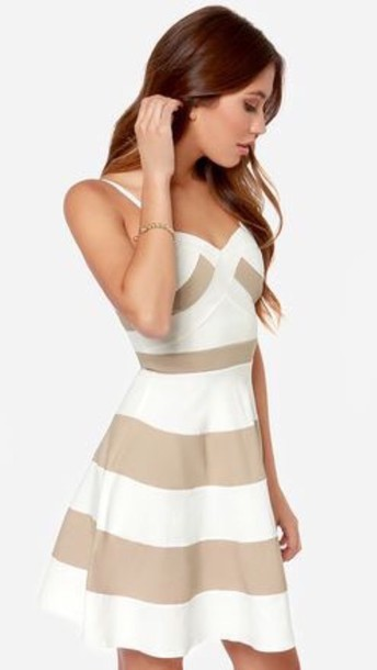 dress ivory white stripes stripes band dress beige and white striped dress beige and white tan and white beige & white tan & white striped dress graduation dress grad dress graduation dresses grad dresses strappy dress sleeveless dress spaghetti strap spaghetti strap jacket