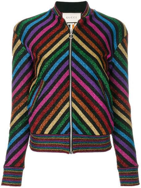 gucci jacket bomber jacket rainbow metallic women silk chevron