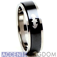 8mm Men's Titanium Batman Spinner Ring Band