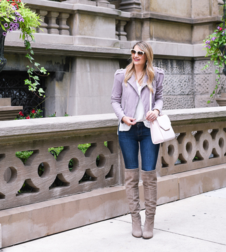 visions of vogue blogger jacket t-shirt jeans shoes bag over the knee boots shoulder bag fall outfits