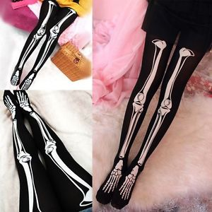 Womens Sexy Black Skeleton Tattoo Socks Pantyhose Stockings Tights Leggings Hot | eBay