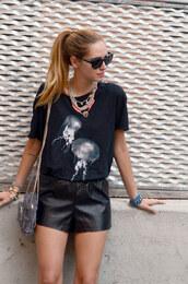 t-shirt,sunglasses,jellyfish,black t-shirt,leather shorts,shoes,shorts,jewels,bag,sea creatures,shirt