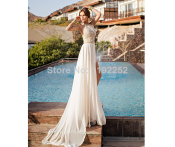Aliexpress.com : Buy Custom Made Free Shipping Charming Sexy High Neck Chiffon Prom Dresses 2014 Ankle Length A line Evening Gowns 2014 New Arrival from Reliable dress islam suppliers on readdress