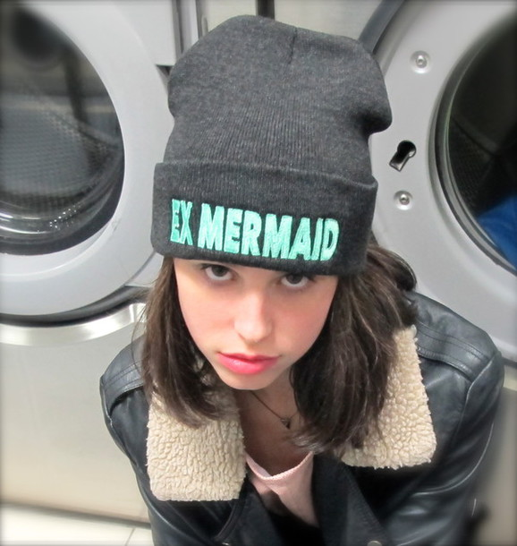 hat beanie knit hat mermaid grey charcoal mint turquoise lovely skater  grunge hipster exmermaid 3b9a5ba5052