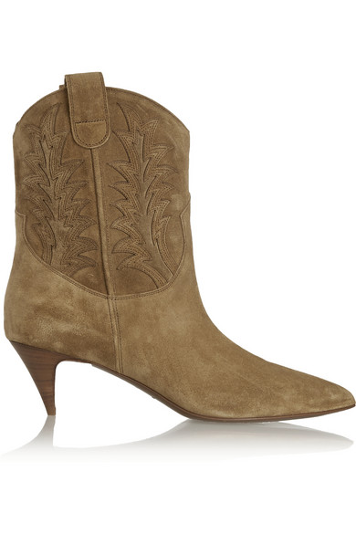 Cat appliquéd suede ankle boots