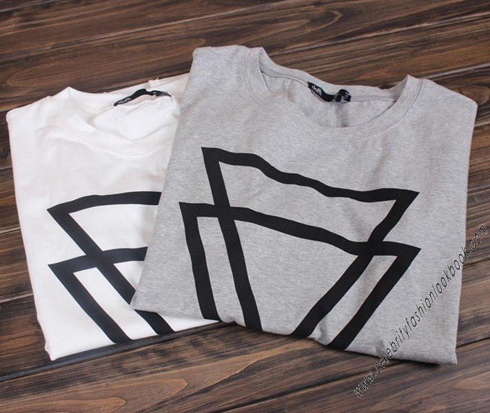 Double Triangle Cotton Tee - Printed Fashion Tops - Tops - Clothing
